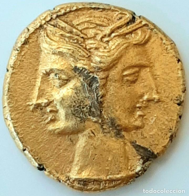 Monedas Grecia Antigua: 3/8 Shekel Electro Cartaginés circa 215-205 a.c Bruttium. Janiforme-Cuàdriga - Foto 2 - 214767641