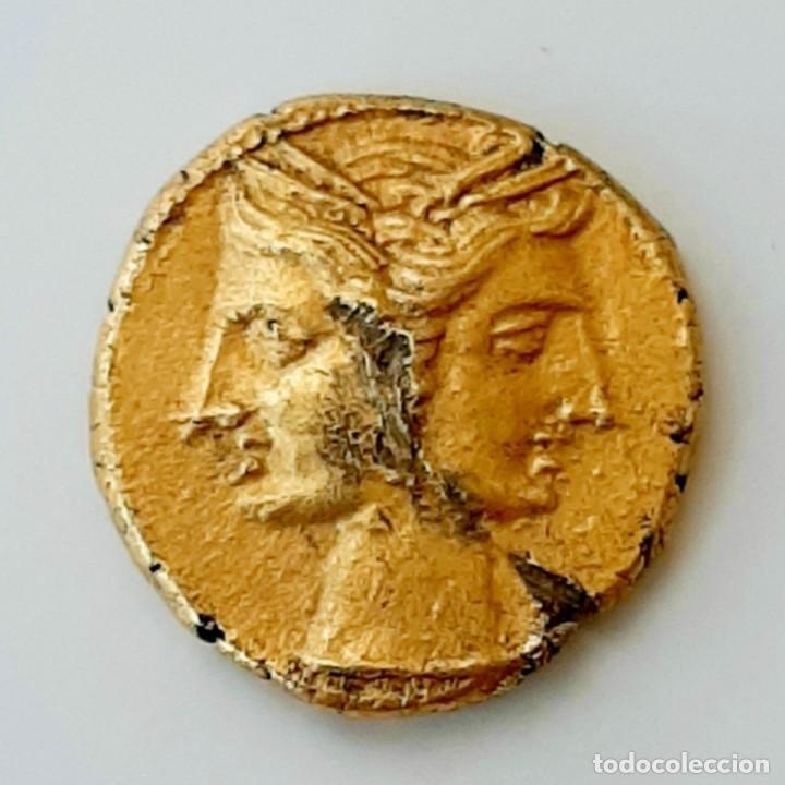 Monedas Grecia Antigua: 3/8 Shekel Electro Cartaginés circa 215-205 a.c Bruttium. Janiforme-Cuàdriga - Foto 3 - 214767641
