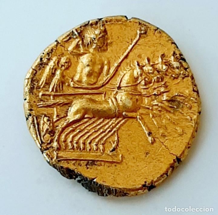 Monedas Grecia Antigua: 3/8 Shekel Electro Cartaginés circa 215-205 a.c Bruttium. Janiforme-Cuàdriga - Foto 4 - 214767641