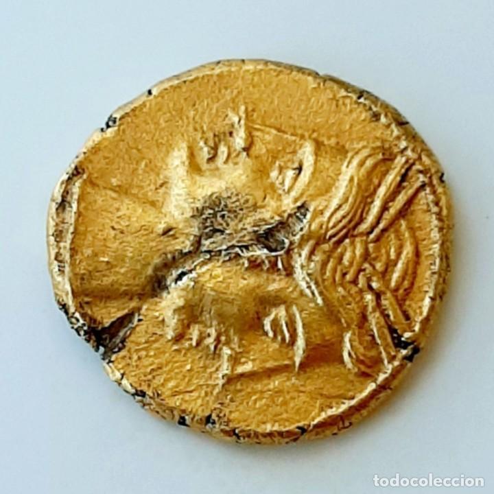 Monedas Grecia Antigua: 3/8 Shekel Electro Cartaginés circa 215-205 a.c Bruttium. Janiforme-Cuàdriga - Foto 5 - 214767641