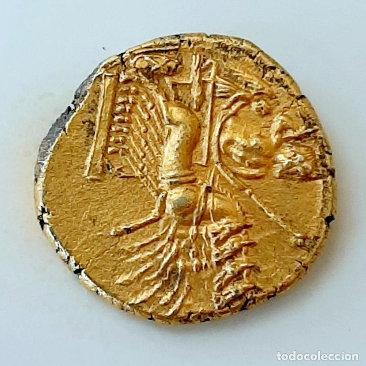 Monedas Grecia Antigua: 3/8 Shekel Electro Cartaginés circa 215-205 a.c Bruttium. Janiforme-Cuàdriga - Foto 6 - 214767641