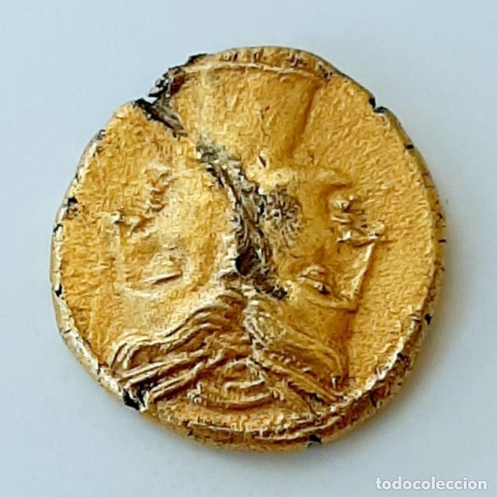 Monedas Grecia Antigua: 3/8 Shekel Electro Cartaginés circa 215-205 a.c Bruttium. Janiforme-Cuàdriga - Foto 7 - 214767641