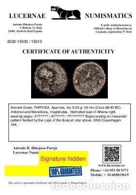Monedas Grecia Antigua: Grecia Antigua - Frigia. Apameia. 80-40 aC. Æ 24. Atena / Gorros - Foto 3 - 222586897