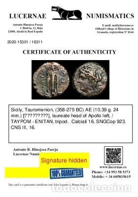 Monedas Grecia Antigua: Grecia - Tauromenion, Sicilia. 358-275 aC. TAYPOM - ENITAN, trípode - Foto 3 - 222588966