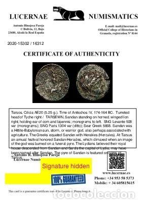 Monedas Grecia Antigua: Tarsos, Cilicia AE20 - Antiochos IV, 174-164 aC. - Sandan, Leon. - Foto 3 - 222590618