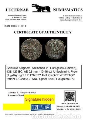 Monedas Grecia Antigua: Seleucida. Antiocos VII Euergetes 138-129 BC. AE 22.Antioquía. Proa - Foto 3 - 222592886