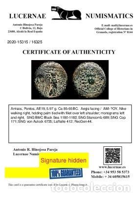 Monedas Grecia Antigua: Grecia Antigua - Pontos, Amisos. 85-65 aC. - Gorgona / Nike. - Foto 3 - 222677998