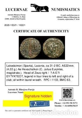 Monedas Grecia Antigua: Laconia Esparta Æ 22 31-32 aC. - Zeus / ?-A E?I EY?YK?EO? Maza. - Foto 3 - 222686785