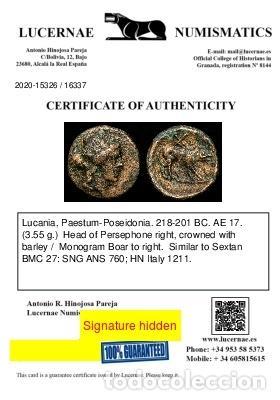 Monedas Grecia Antigua: Lucania, Paestum-Poseidonia - Æ 17 Persefone / Cerdo. - Foto 3 - 222786805
