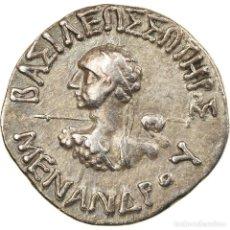 Monedas Grecia Antigua: MONEDA, BACTRIA, MENANDER, DRACHM, 160-145 BC, MBC+, PLATA, SEAR:7604. Lote 228314805