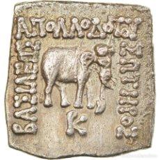 Monedas Grecia Antigua: MONEDA, BACTRIA, APOLLODOTOS I, DRACHM, 160-150 BC, EBC, PLATA, SNG ANS:324. Lote 228350285