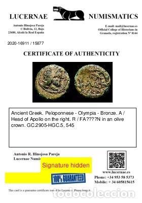 Monedas Grecia Antigua: Grecia - Bronce de Olympia (Peloponeso) Apollo / FAΛΕΙΩN en corona - Foto 5 - 234899850