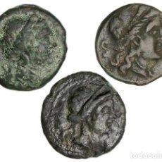 Monedas Grecia Antigua: MONEDAS GRIEGAS, LOTE 3 MONEDAS SEMIS, (S. III A.C.), BRUTTIUM. VIBO VALENTIA (HIPPONION). Lote 245394595
