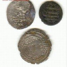 Monedas hispano árabes: TRES PIEZAS ARABES PLATA A CLASIFICAR TIPO DIRHEM. Lote 131904146