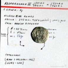 Monedas hispano árabes: ABDERRAHMAN III - DIRHEM - PLATA. Lote 59738732