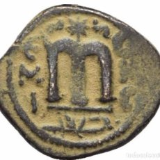 Monedas hispano árabes: CALIFATO OMEYA! ACUÑACION ARABO-BIZANTINA! BUSTO IMPERIAL! 660-670! EBC AE FALS BRONCE - 4GR. Lote 105632539
