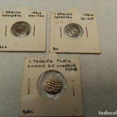 Monedas hispano árabes: LOTE DE 3 MONEDAS PLATA ,DRACMAS Y TANGKA. Lote 114725639