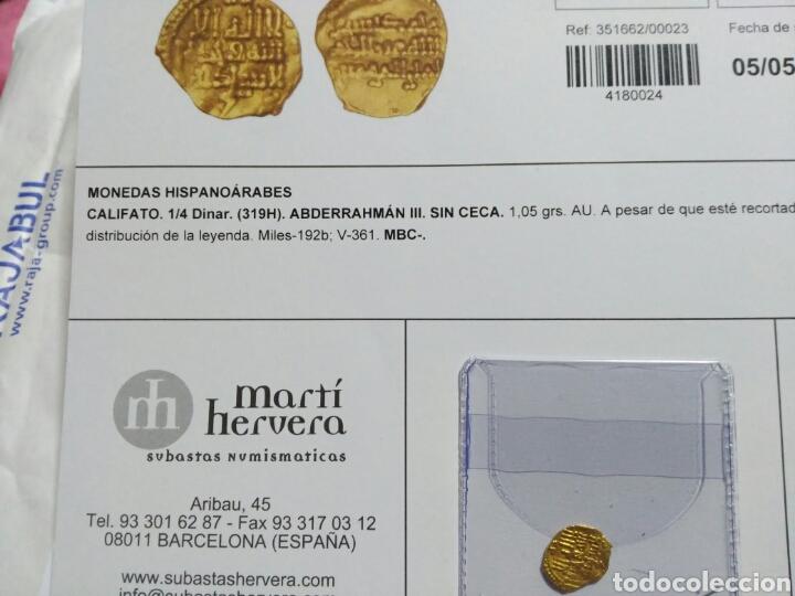 Hispanic Arab Coins: Califato Córdoba 1/4 dinar (319 H) Abderraman III 1,05 gr oro certificado autenticidad - Foto 8 - 106592666