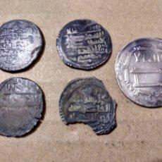 Monedas hispano árabes: 6- CINCO DIRHEMS A CLASIFICAR IDENTIFICAR. Lote 178209702