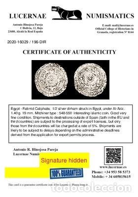 Monedas hispano árabes: Califato Fatimi en Egipto 1/2 Dirham - Al-Aziz 975-995 d.C. - Foto 3 - 213718091