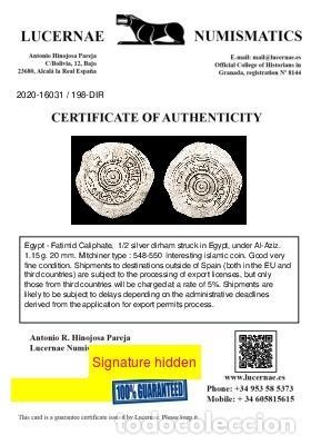 Monedas hispano árabes: Califato Fatimi en Egipto 1/2 Dirham - Al-Aziz 975-995 d.C. - Foto 3 - 213718215