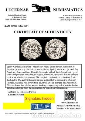 Monedas hispano árabes: Califato de Córdoba - Dirham - Hisam II - 401 H - 1010 dC. (233Dir) - Foto 3 - 235071810