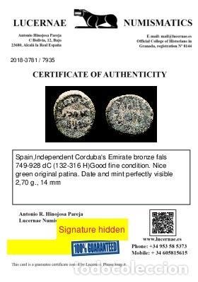 Monedas hispano árabes: Scarce independent Cordubas Emirate bronze fals (749-928 d.C.). - Foto 3 - 254401165