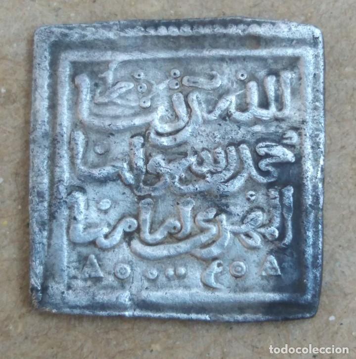 MONEDA DIRHAM CUADRADO DE PLATA HISPANO ARABE A IDENTIFICAR PESO 1,5 GRAMOS (Numismática - Hispania Antigua - Hispano Árabes)