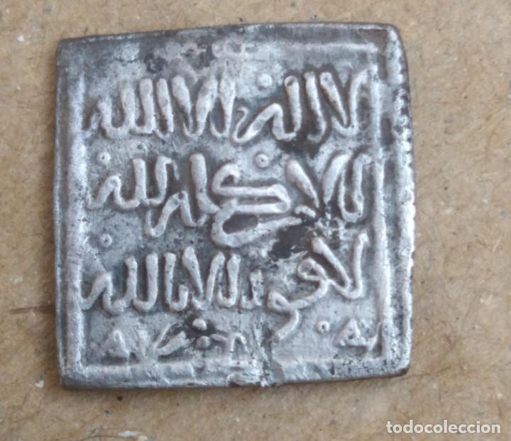 MONEDA DIRHAM CUADRADO DE PLATA HISPANO ARABE A IDENTIFICAR PESO 1,4 GRAMOS (Numismática - Hispania Antigua - Hispano Árabes)