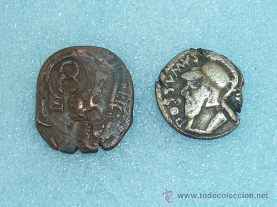 LOTE DE 2 MONEDAS ANTIGUAS, UNA ES UN MARAVERÍ RESELLADO (Numismática - Hispania Antigua - Moneda Ibérica no Romanas)