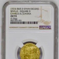 Monedas ibéricas: ¡¡ PRECIOSA !! 1 ESCUDO ORO DE JUANA Y CARLOS. CECA SEVILLA. ENSAYADOR D.. Lote 132384530