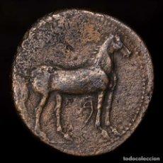 Monedas ibéricas: DOMINACIÓN CARTAGINESA, 237-209 A.C. CALCO DE BRONCE, ATENA/CABALLO. Lote 148134084
