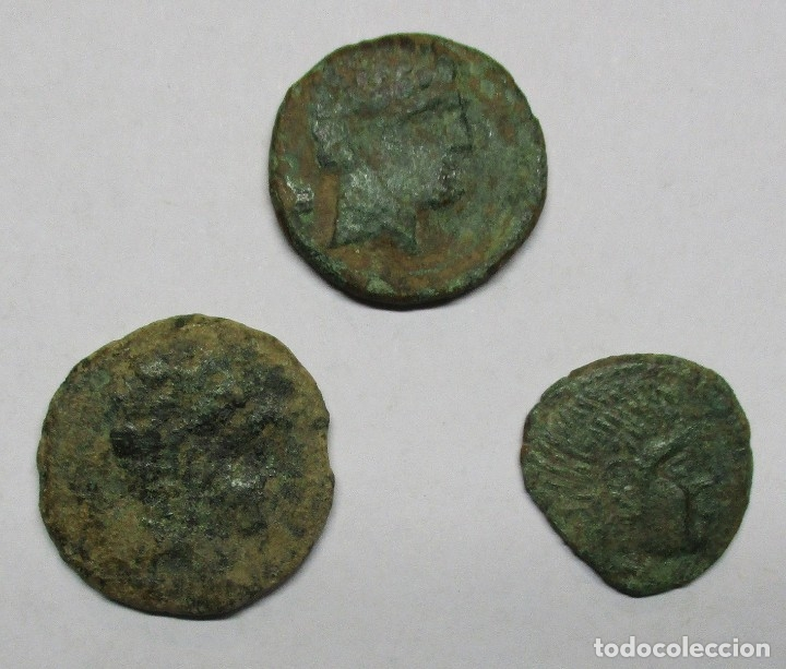 TRES ASES IBERICOS: KESE (TARRAGOAN), BOLSKAN (HUESCA) E ILTIRTA (LLEIDA). LOTE 2034 (Numismática - Hispania Antigua - Moneda Ibérica no Romanas)