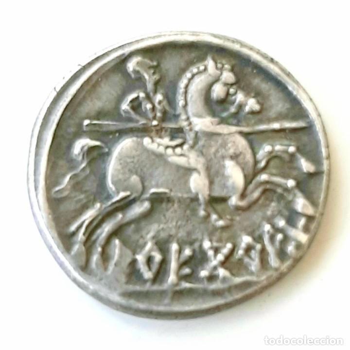 Monedas ibéricas: Denario Arekoratas circa 120-20 a.c. - Foto 2 - 214498703