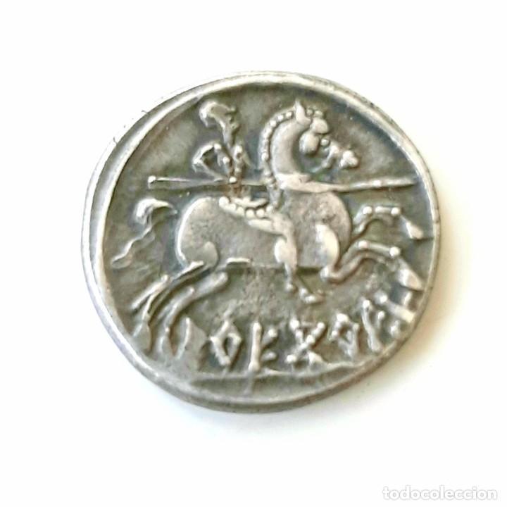 Monedas ibéricas: Denario Arekoratas circa 120-20 a.c. - Foto 6 - 214498703