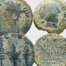 Monedas ibéricas: DUPONDIO DE COLONIA PATRICIA + AS DE OBULCO. 83-M. Lote 221612728