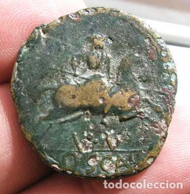 XS- OSCA (HUESCA) AUGUSTO 27AC-14DC RARO AS JINETE SOBRE V-V / OSCA ACIP 3217 (Numismática - Hispania Antigua - Moneda Ibérica no Romanas)