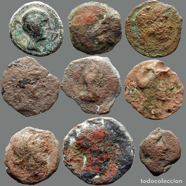 LOTE DE 9 MONEDAS DE ÉPOCA IBÉRICA. 207-L (Numismática - Hispania Antigua - Moneda Ibérica no Romanas)