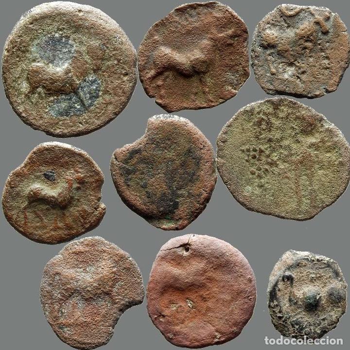 LOTE DE 9 MONEDAS DE ÉPOCA IBÉRICA. 206-L (Numismática - Hispania Antigua - Moneda Ibérica no Romanas)