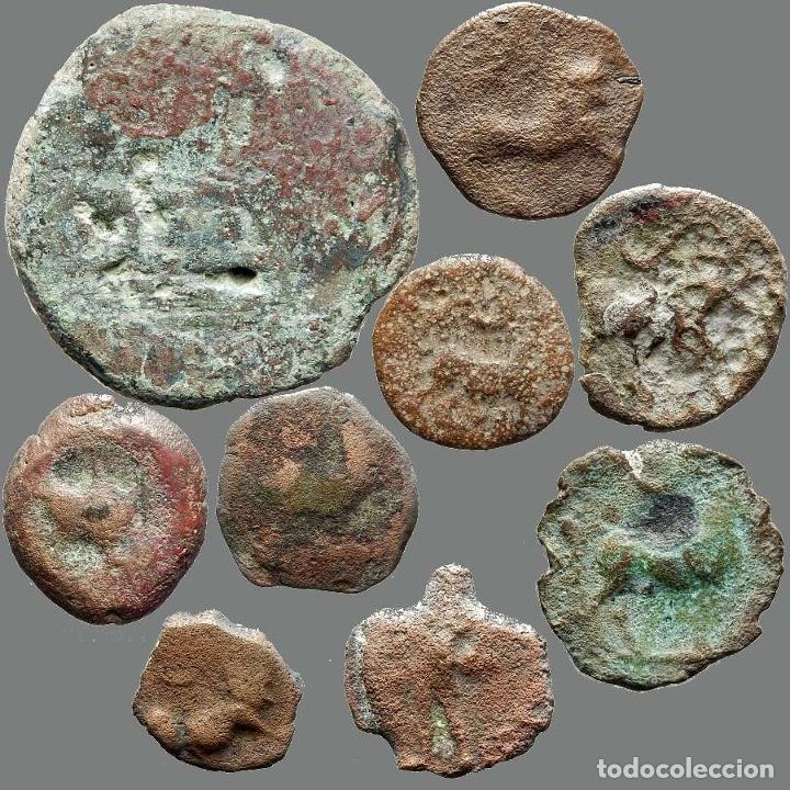 LOTE DE 9 MONEDAS DE ÉPOCA IBÉRICA. 204-L (Numismática - Hispania Antigua - Moneda Ibérica no Romanas)