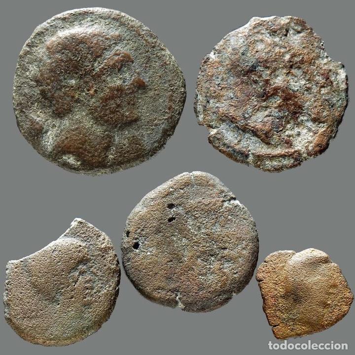 INTERESANTE CONJUNTO DE BRONCES IBÉRICOS, (5). 41-L (Numismática - Hispania Antigua - Moneda Ibérica no Romanas)