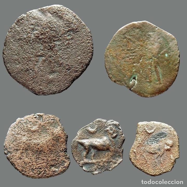 Monedas ibéricas: Interesante conjunto de bronces ibéricos, (5). 2-L - Foto 2 - 262143175