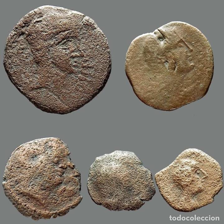 INTERESANTE CONJUNTO DE BRONCES IBÉRICOS, (5). 2-L (Numismática - Hispania Antigua - Moneda Ibérica no Romanas)
