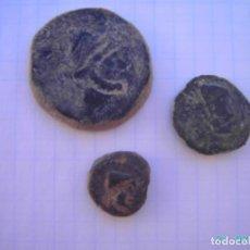 Monedas ibéricas: LOTE DE AS,CUADRANTE Y SEXTANTE DE MALACA.. Lote 275854443