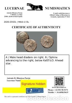 Monedas ibéricas: Kastilo-Castulo. As. 180 a.C. Cazlona (Jaén). 172-L - Foto 4 - 278551548