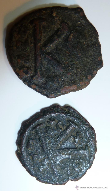 JUSTINO II 565-578 EMPERADOR BIZANTINO LOTE DE DOS 1/2 FOLLIS (Numismática - Periodo Antiguo - Imperio Bizantino)