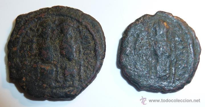 Monedas Imperio Bizantino: JUSTINO II 565-578 Emperador Bizantino Lote de dos 1/2 FOLLIS - Foto 2 - 42416359