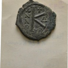 Monedas Imperio Bizantino: IMPERIO BIZANTINO! JUSTINO II 565-578! AE MEDIO FOLLIS THESSALONICA EBC-. Lote 107693967