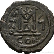 Monedas Imperio Bizantino: IMPERIO BIZANTINO! JUSTINO II CON SOFIA (565-578)! FOLLIS. CONSTANTINOPLA EBC- FECHADA RY 6 (570/1). Lote 108765759