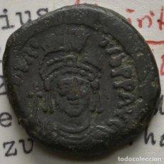 Monedas Imperio Bizantino: IMPERIO BIZANTINO MAURICIO TIBERIO 582- 602 AE MEDIO FOLLIS THESSALONICA EX COLL NÜRNBERG! EBC-/MBC+. Lote 109071803